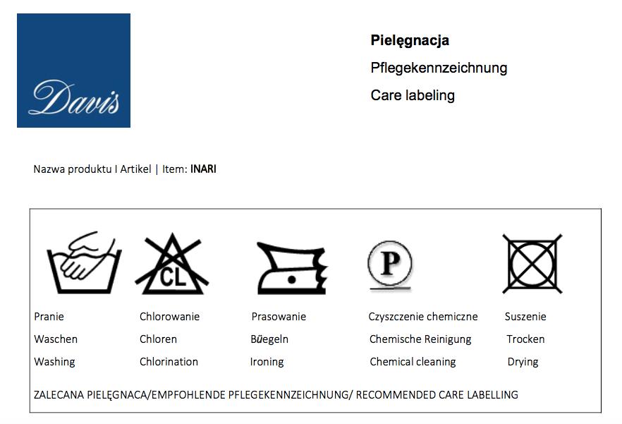 Karta techniczna dla tkanin Inari marki Davis dla mebli tapicerowanych producenta Meblosoft
