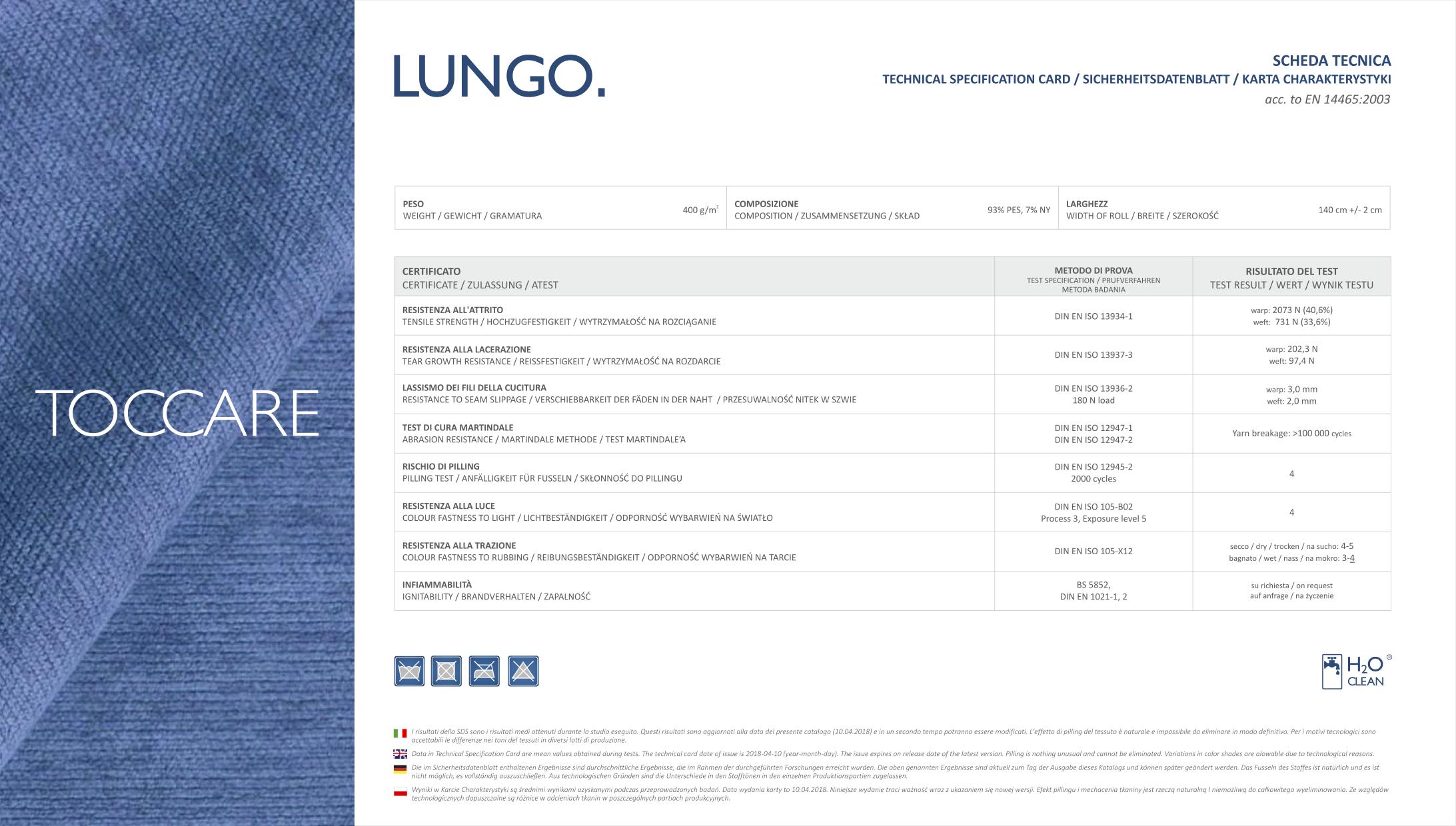 Karta techniczna tkanin Lungo marki Toccare dla mebli tapicerowanych producenta Meblosoft