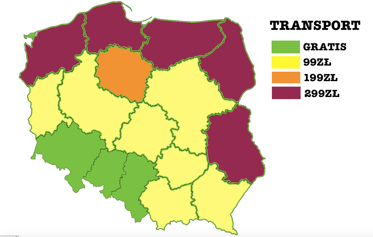 Transport mebli mapa Polski