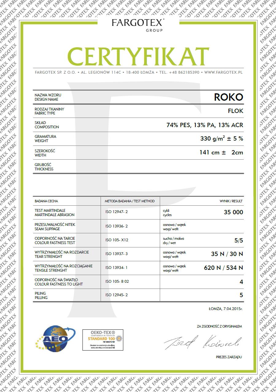 Certyfikat do tkanin Rokko z funkcją Magic Home dla mebli tapicerowanych producenta Meblosoft