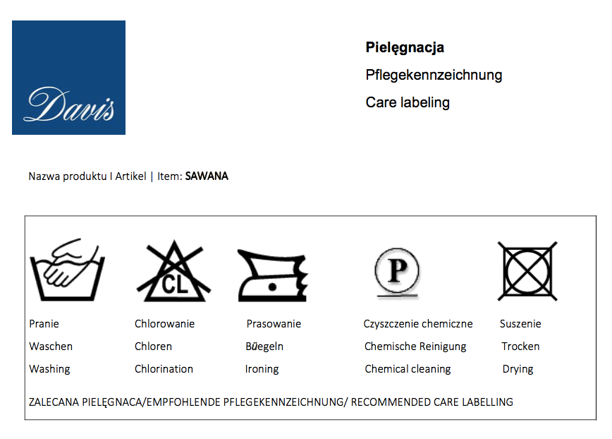 Karta techniczna tkanin Sawana marki Davis dla mebli tapicerowanych producenta Meblosoft