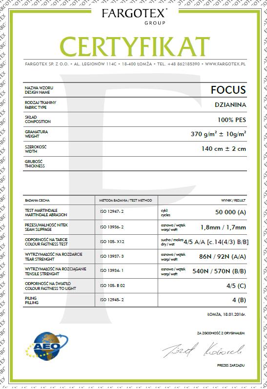 Certyfikat do tkanin Focus z funkcją Magic Home dla mebli tapicerowanych producenta Meblosoft