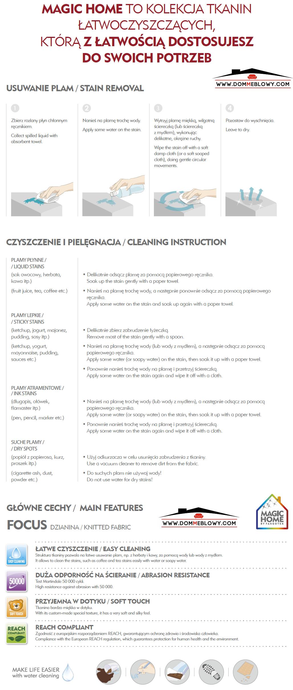 Instrukcja czyszczenia do tkanin Focus z funkcją Magic Home dla mebli tapicerowanych producenta Meblosoft