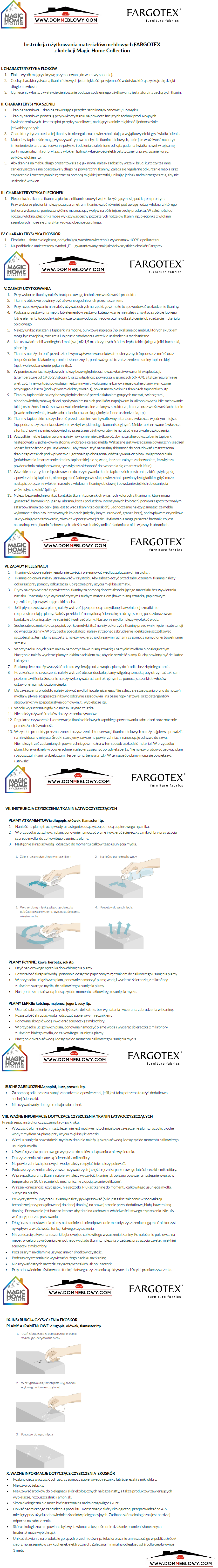 Instrukcja użytkowania do tkanin Rokko z funkcją Magic Home dla mebli tapicerowanych producenta Meblosoft