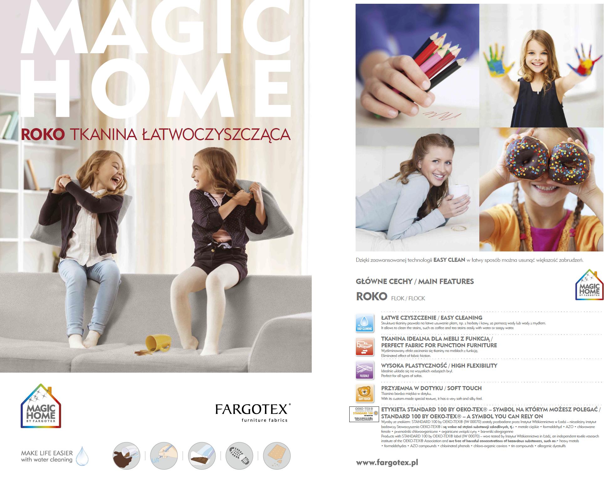 Karta techniczna do tkanin Rokko z funkcją Magic Home dla mebli tapicerowanych producenta Meblosoft