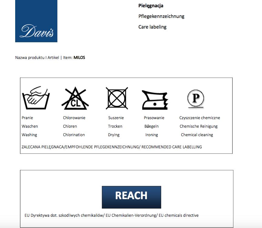 Karta techniczna dla Tkanin Milos marki Davis do narożników, kanap, sof, foteli i puf producenta Meblosoft