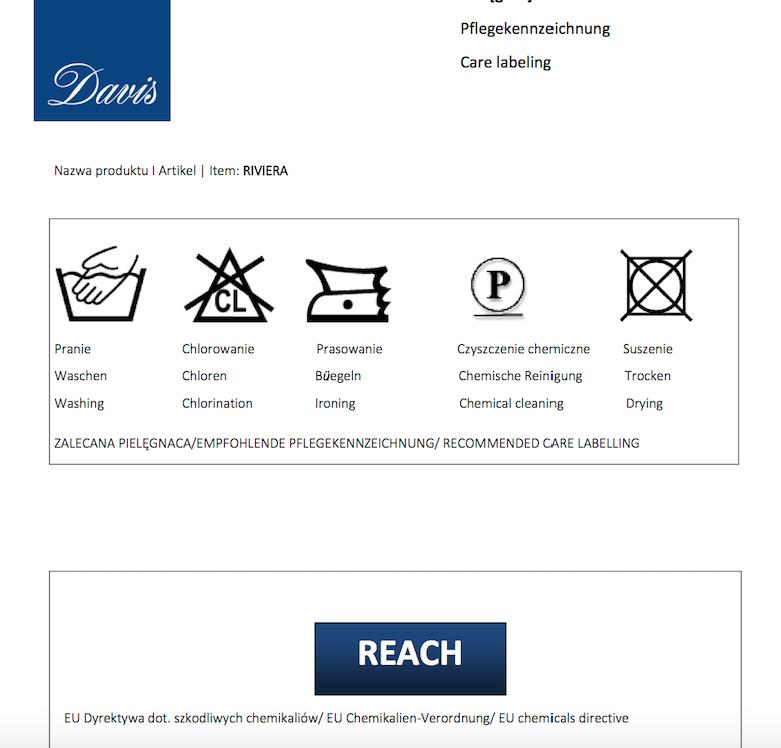 Karta techniczna tkanin Riviera marki Davis dla mebli tapicerowanych Meblosoft