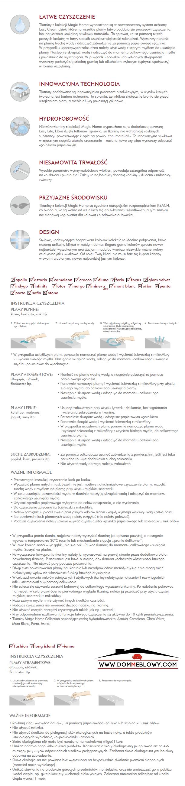 Karta techniczna do tkanin Focus z funkcją Magic Home dla mebli tapicerowanych producenta Meblosoft